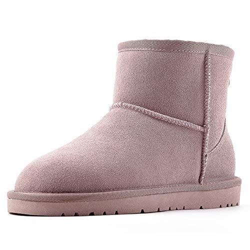 Cuero Cortas Felpa Espesar Casual pink Cálido 39 Invierno El De Deslizar Botas Nieve Mujer Para Plano Talón qR8XWw0I