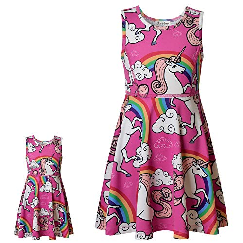 America Doll & Girl Matching Dresses Unicorn Clothes Outfits Sleeveless -