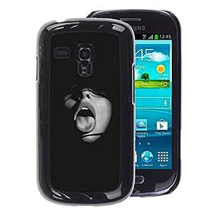 A-type Arte & diseño plástico duro Fundas Cover Cubre Hard Case Cover para Samsung Galaxy S3 MINI 8190 (NOT S3) (Black Girl Tongue Mouth Fashion Sexy)