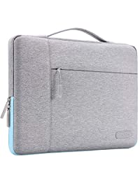MOSISO Laptop Briefcase Handbag Compatible 13-13.3 Inch MacBook Air, MacBook Pro, Notebook Computer, Polyester Multifunctional Carrying Sleeve Case Cover Bag, Gray&Hot Blue