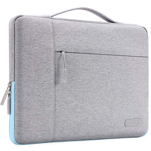 MOSISO Laptop Briefcase Handbag Compatible 13-13.3 Inch MacBook Air, MacBook Pro, Notebook Computer, Polyester Multifunctional Carrying Sleeve Case Cover Bag, Gray & Hot Blue