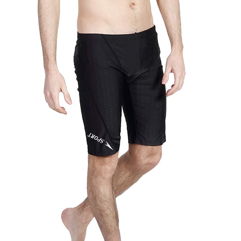 Men's Swimming Trunks Quick Dry Endurance Nylon Breathable Swimsuit Briefs (XL, Black)