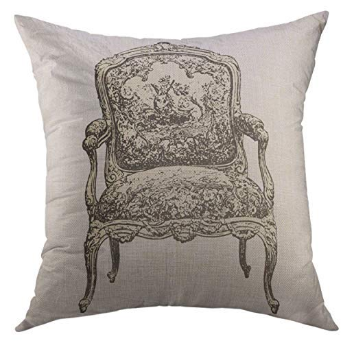 (Pattebom Retro Armchair 18Th Century Style Vintage Engraved Le Mobilier Ed Edouard Rouveyre in 1915 France Chair Throw Pillow Covers 16 x 16 Decorative Pillow Covers Farmhouse for Couch )