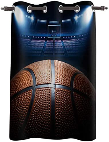 Arts Language Windows Treatment Blackout Curtains Grommet Drapes for Boys Girls Kids Bedroom Basketball Arena Stadium Court Printed Room Darkening Curtains for Livingroom Office, 1 Panel 52x96in
