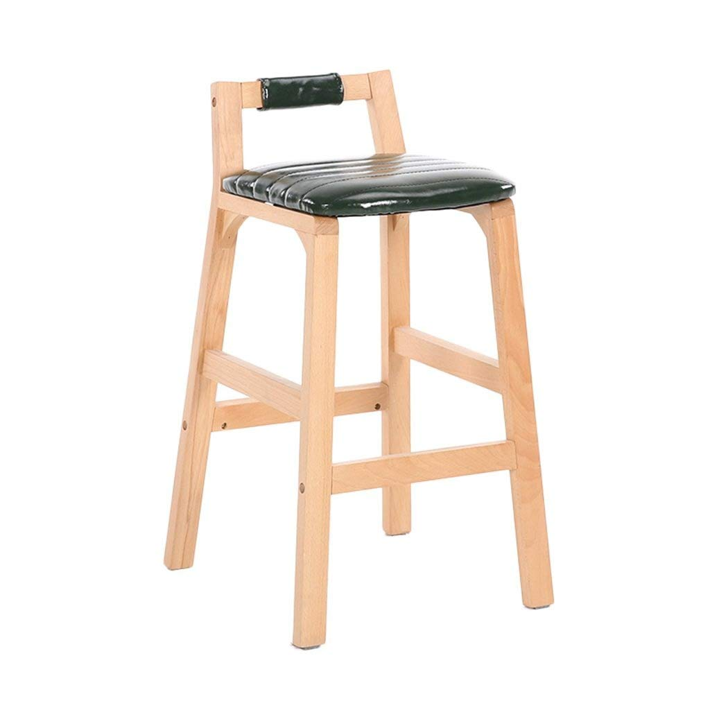 Green Solid Wood Bar Stools High Stools Creative Highchairs Family Bar Stools Cafe Restaurant Dining Chairs Bar Stools Front FENPING (color   White)