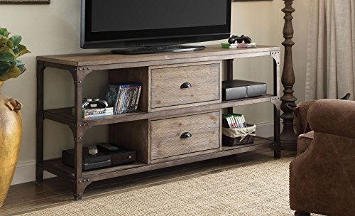 emporary Style Rectangular Weathered Oak Finish Antique Silver Metal Frame TV Stand with 4 Open Storage Racks and 2 Center Drawers ()