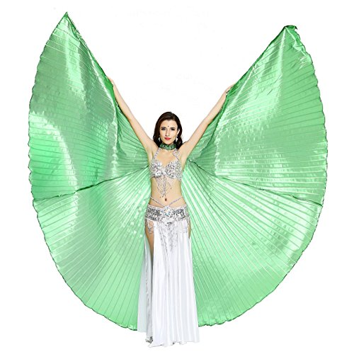 [Dance Fairy Belly Dance Isis Wings With Sticks,Green] (Wood Fairy Costumes)