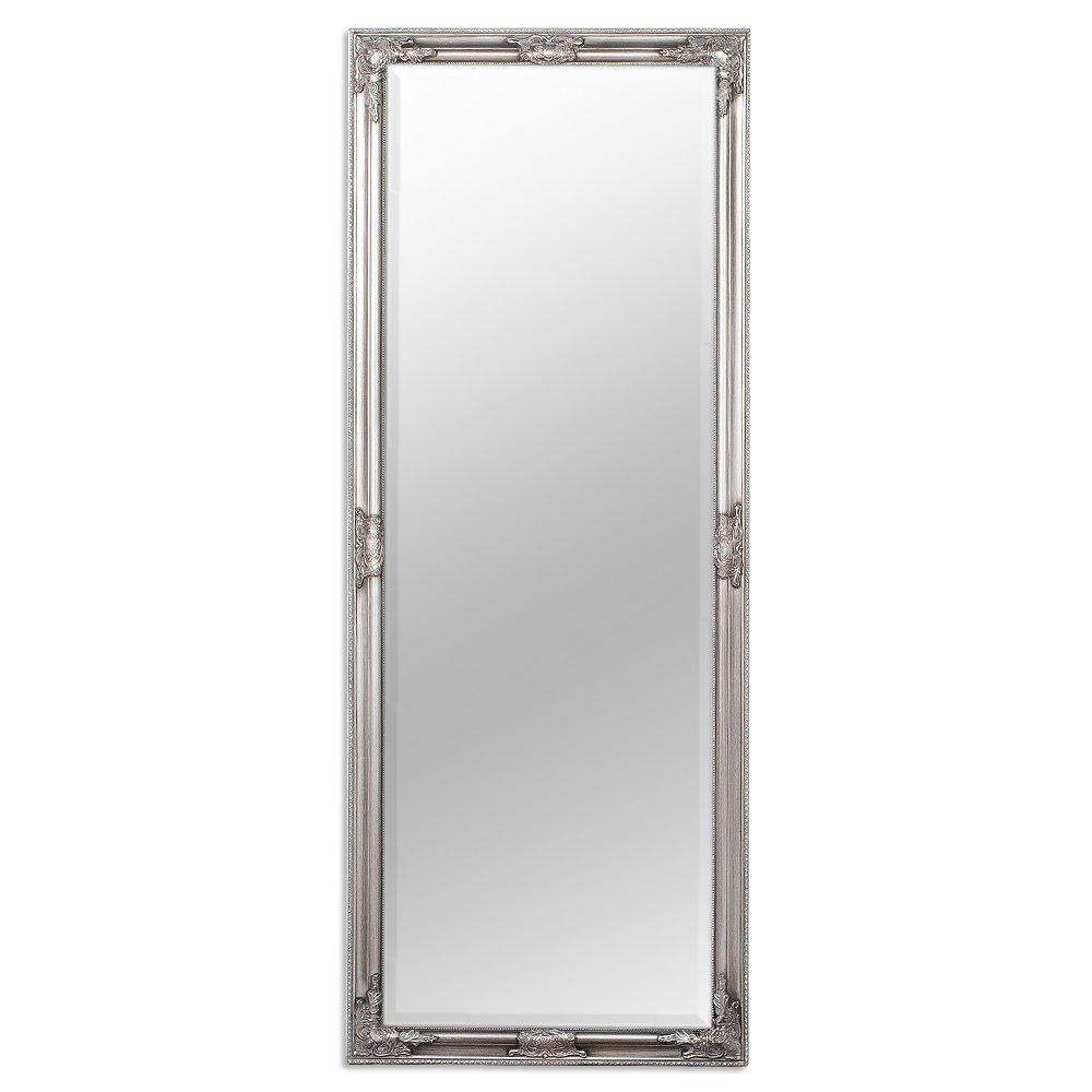 LEBENSwohnART Wandspiegel BESSA Silber antik barock Design Spiegel pompös Holzrahmen 160x60cm