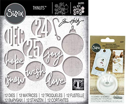 Tim Holtz Sizzix Holiday 2019 - Christmas Circle Words and Plastic Dimensional Domes - 2 Items]()