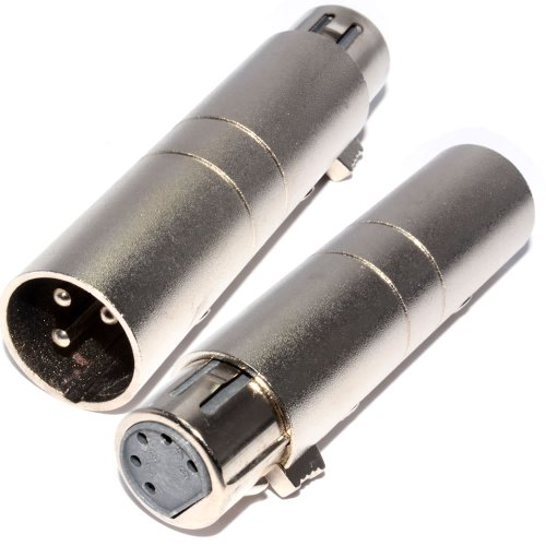 kenable 3 Pin Male XLR Pins to 5 Pin Female Holes DMX Plug Adapter