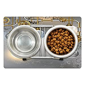 Ambesonne Industrial Pet Mat for Food and Water, Steampunk Style Antique Composition Brass Fastening Round Print, Rectangle Non-Slip Rubber Mat for Dogs and Cats, Yellow Grey White