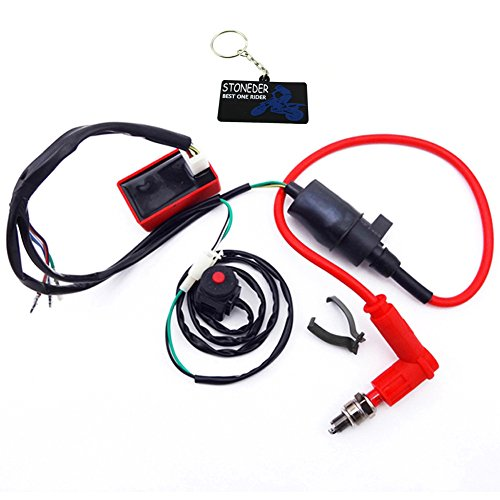 STONEDER Pit Dirt Bike Wiring Loom Harness Kill Switch Racing Ignition Coil CDI Spark Plug: