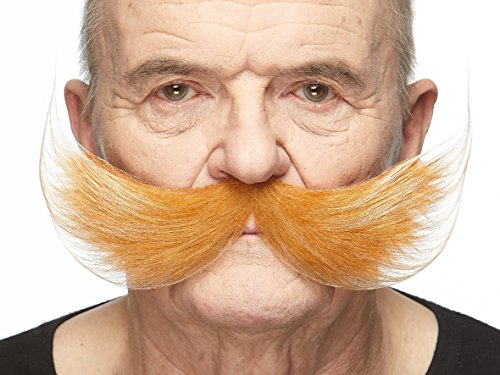 Mustaches Fake Self Adhesive, Novelty, Fisherman's False Facial Hair, Honey with White Color
