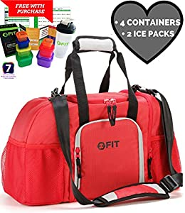 Meal Prep Bag With 4 Portion Control Containers 2 Ice Packs Travel Insulated Lunch Picnic Cooler Fitness Gym Bodybuilding Management