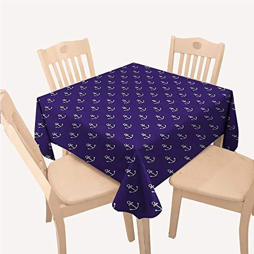 WilliamsDecor Marine Holiday Tablecloth Sealife Ocean Yacht Design Vector Anchor Decorative Pattern Artwork ImageDark Purple White Square Tablecloth W60 xL60 inch