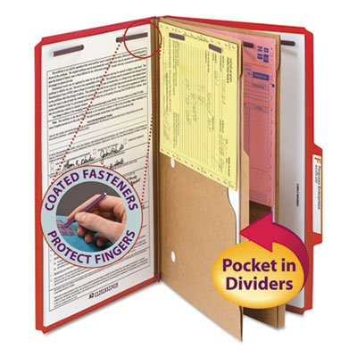 Pressboard Folders, Two Pocket Dividers, Legal, Six-Section, Bright Red, 10/Box, Sold as 10 Each