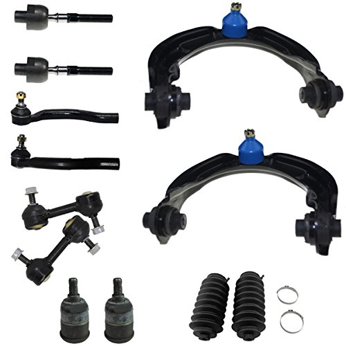 - 12pc Front Upper Control Arm w/Ball Joints Assembly, Front Sway Bars, Lower Ball Joints, Inner Outer Tie Rod Ends w/Rack and Pinion Boots and Below Kit for 2008-2012 Honda Accord