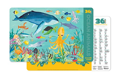 Crocodile Creek 2843-5 36 Ocean Animals 2-Sided Placemat, Teal/Yellow/Green/Blue (Place Ocean)