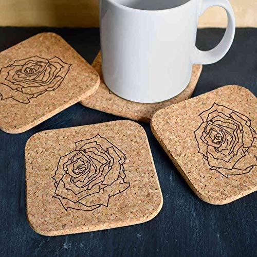 Posavasos Azeeda 4 x Rosa Posavasos de Corcho Cuadrados de 10cm CR00150367 Utensilios de bar