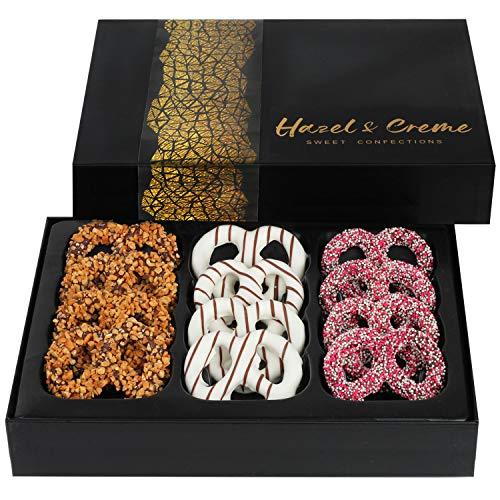 Hazel & Creme Chocolate Covered Pretzel Twist – Chocolate Gift Basket Corporate, Birthday, Holiday, Thank You (Large…