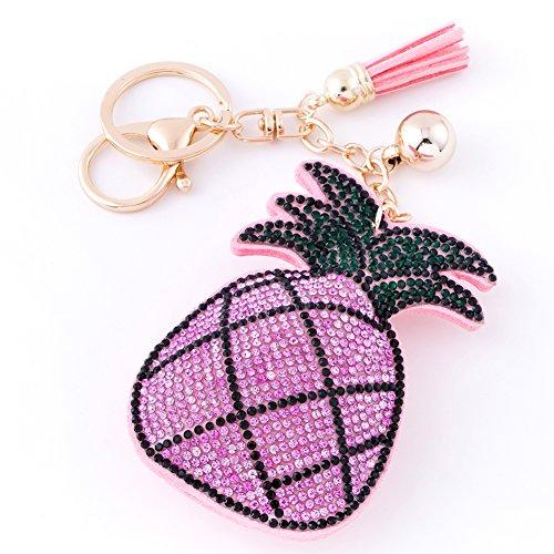 - Soleebee Women Girl Tassel Keychain Premium SS6 Crystal Key Chain Glitter Bag Charm (Pineapple Pink)
