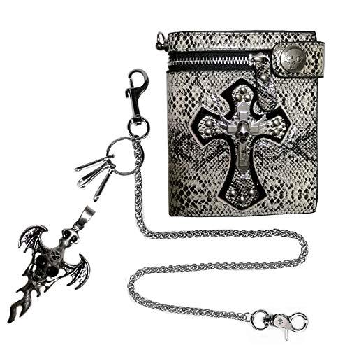 ABC STORY Skull Snake Biker Chain Wallet for Women Men w/Necklace Black