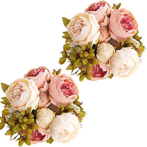 CEWOR 2 Pack Artificial Peony Silk Flowers Bouquet (Peach) with a roll of Satin Ribbon (Pink) for Home Bridal Wedding Party Festival Bar Decor ()