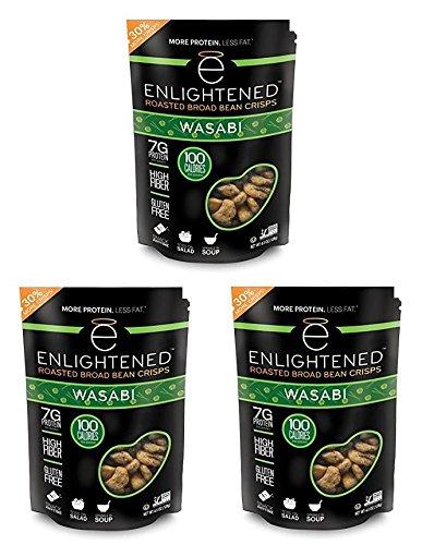 "NEW LARGER BAG! Enlightened Roasted Fava Broad Beans ""The Good-For-You Crisp"" (Pack of 3) - 30% MORE CRISPS! (Wasabi)"