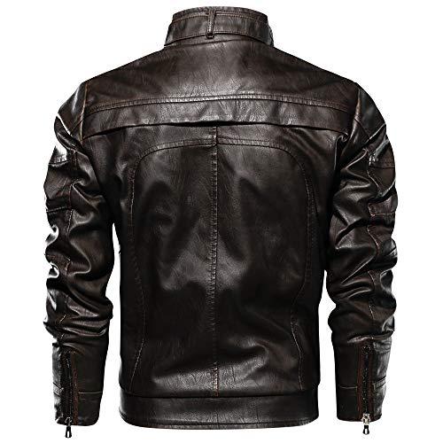 Automne Hiver Café Jacket Pu Vintage Cuir Biker Moto Rétro Yuyoug Winter Mens Chaud Leather En Blousons Homme Manteaux Veste Classique RpSAIqI