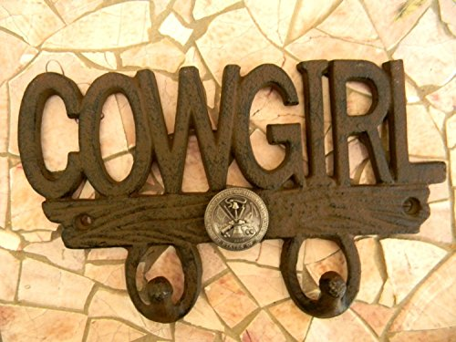 Army Cowgirl Wall Hook, Cast Iron US Army Women's Girls Room Home Decor, Rustic Wall Art