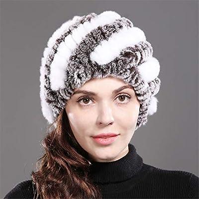 SexT Hats New Lady Winter Natural Real Rex Rabbit Fur Hat Girl 100% Rex Rabbit Fur Cap Warm Soft Knitted Genuine Fu