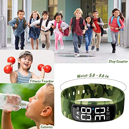Kids Fitness Tracker Watch, AKIVIDA Activity Tracker Pedometer Bracelet with Alarm Clock Calorie Step Counter Sport Watch Gift for Kids Girls Boys Teens 8