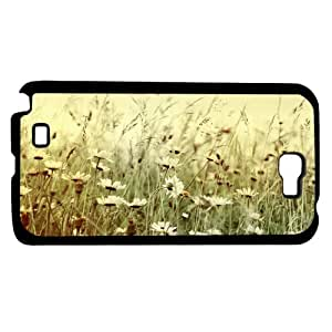 Vintage White Wild Flowers Background Hard Snap on Phone Case (Note 2 II)