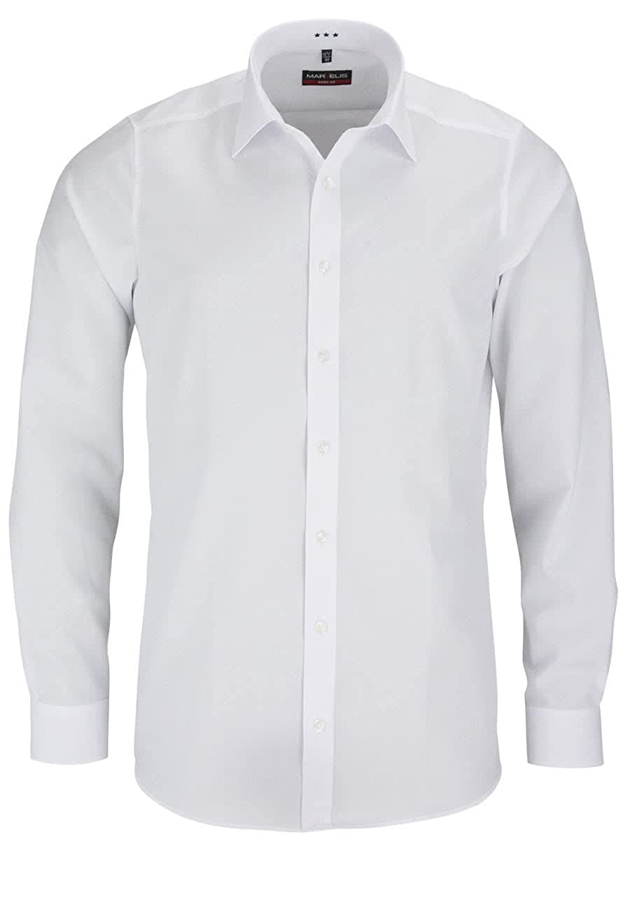 Camisa Marvelis, de manga larga, New Kent, con cuello, de color blanco