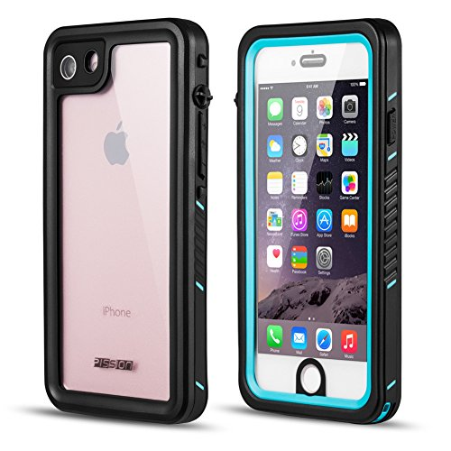 PISSION Waterproof Cases Ultra Slim Full Body Protective Cover Compatible with iPhone 6/6S (iPhone 7/8, Blue)