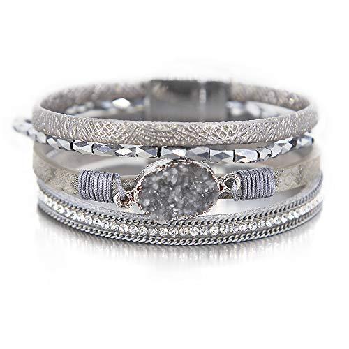 Silver Wrap Bracelet Boho Jewelry Cuff Bracelet Crystal Bead Bracelet Rhinestone Handmade Bangle Braided Magnetic Clasp Bracelet Multi Strand Bracelet for Women Girl Men