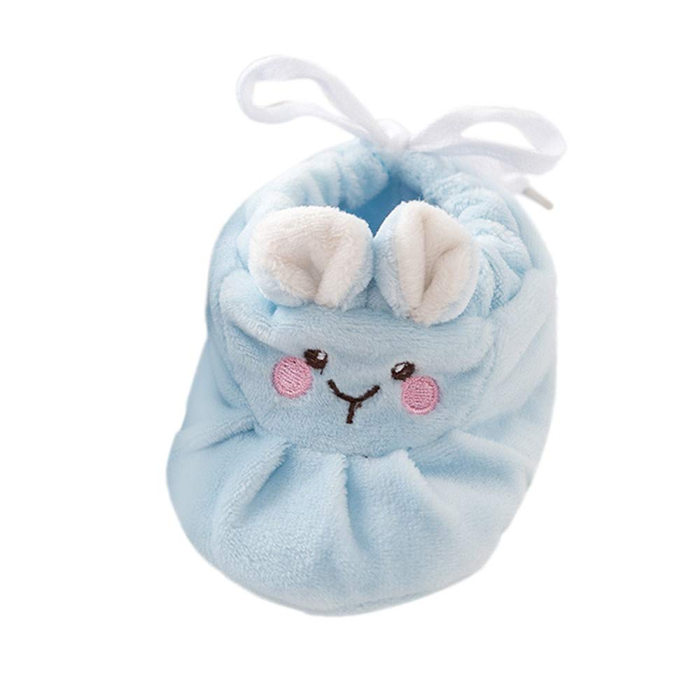 NUWFOR Baby Boy Girl Cartoon Cute Smile Shoes Toddler Shoes Anti-Slip Winter Shoes(Blue,0-3Months)