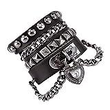 Bystar Bracelet of Punk Rock Rivet Wrap Retro Heart