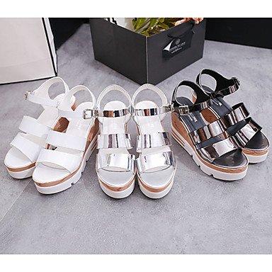 LvYuan Mujer Sandalias PU Primavera Verano Hebilla Tacón Cuña Blanco Plata Gris 7'5 - 9'5 cms White