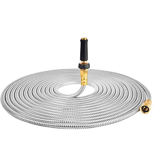 - 50' 304 Stainless Steel Garden Hose, Lightweight Metal Hose with Free Nozzle, Guaranteed Flexible and Kink Free