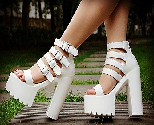 XiaoGao 15 cm de tacon alto sandalias en el nuevo escenario,Blanco