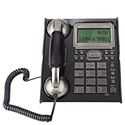 fosa European Antique Phone, Corded Vintage Retro Phone for Home Office, Table Wall Dual Use with Alarm Clock Incoming Call Display Function Decorative Fixed Telephones (Black Peach Wood)