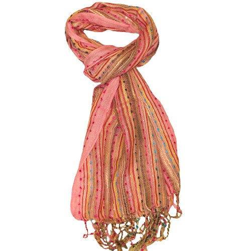 Women's Pink Colourful Scarf - Beautiful ladies scarf for both winter and -