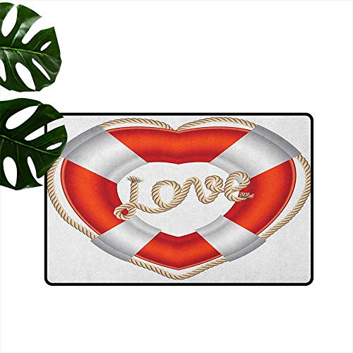 Buoy Latex Backing Non Slip Door Mat Heart Shaped Life Belt Valentine Love Affection Honeymoon Romantic Theme Art Easy to Clean W31 x L47 Orange White Cream ()