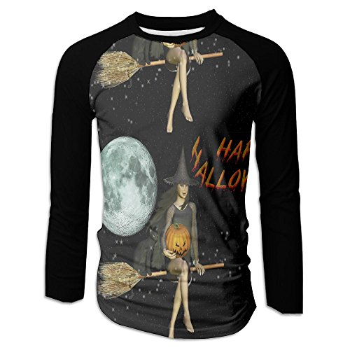 (Men's Happy Halloween Witch Moon Pumpkin Casual Novelty Crew Neck Long Sleeve Raglan Baseball T Shirt)