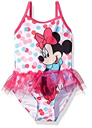 Disney Toddler Girls\' Minnie Mouse Swimsuit, Pink, 4T