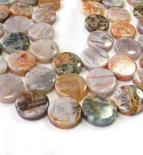 - 3 (Three) Beads of Window Pane Agate 20mm Coin 9200