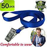 Bulk Lanyard Blue Lanyards for Id badges,Durably Woven Lanyards Bulldog Clips Lanyard Nylon Neck Flat Lanyard with Badge Clip for Office ID Name Tags and Badge Holders,lanyards 50 pack
