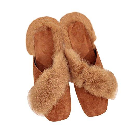 Decorativas Zapatillas y WANGXN de Zapatos o Invierno Oto de yellow Plush RCS1qCw