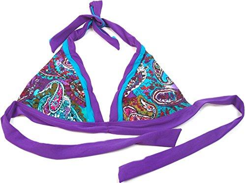 Becca Beach Women's Swimsuit Halter Paisley Bikini Top Swim Wear Purple L Blue